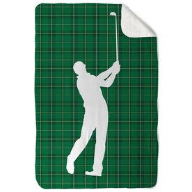Golf Sherpa Fleece Blanket Plaid Pattern Golfer