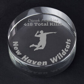 Volleyball Personalized Engraved Crystal Gift - Player Silhouette with Custom Text (Male)