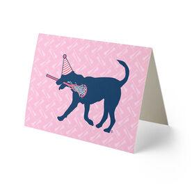 Girls Lacrosse Birthday Greeting Card - Lax Dog