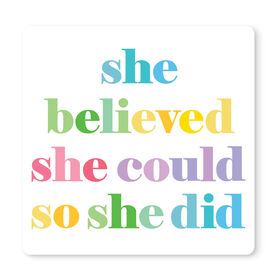 """Running 12"""" X 12"""" Removable Wall Tile - She Believed She Could"""