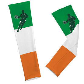 Basketball Printed Arm Sleeves Basketball Irish Colors Guy Silhouette