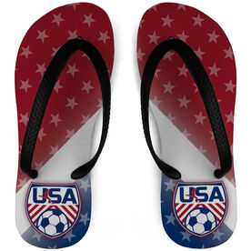 Soccer Flip Flops USA with Stars