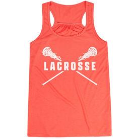 Girls Lacrosse Flowy Racerback Tank Top - Crossed Girls Sticks