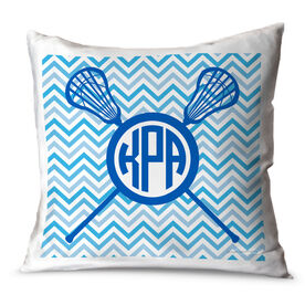 Girls Lacrosse Throw Pillow Personalized Monogram with Crossed Sticks and Chevron Pattern
