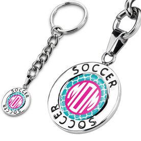 Soccer Circle Keychain Soccer Quatrefoil Mom-ogram