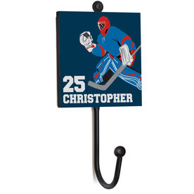Hockey Medal Hook - Goalie With Name And Number