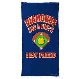 Softball Beach Towel Diamonds Are A Girl's Best Friend