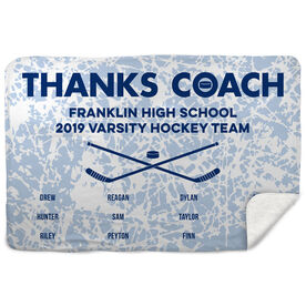 Hockey Sherpa Fleece Blanket - Thanks Coach (Horizontal)