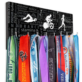 Triathlon Hooked on Medals Hanger - Tri Inspiration Female