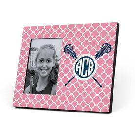 Girls Lacrosse Photo Frame - Monogram Sticks With Quatrefoil Pattern