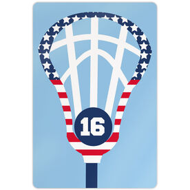 "Lacrosse 18"" X 12"" Aluminum Room Sign Patriotic Lax Stick with Number"