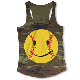 Softball Camouflage Racerback Tank Top - Smiley