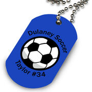 Custom Soccer Ball Printed Dog Tag Necklace