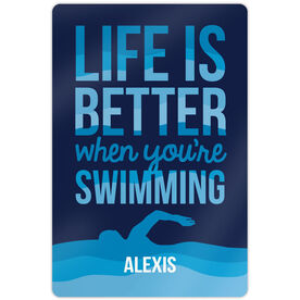 "Swimming 18"" X 12"" Aluminum Room Sign Life Is Better When You're Swimming"