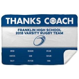 Rugby Sherpa Fleece Blanket - Thanks Coach (Horizontal)