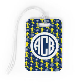 Snowboarding Bag/Luggage Tag - Personalized Snowboarding Pattern Monogram