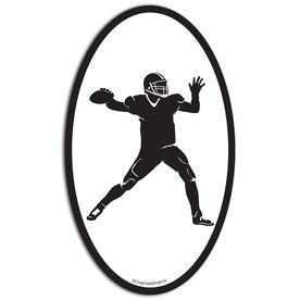 Football Quarterback Oval Car Magnet
