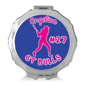 Personalized Softball Girl Color Compact Mirror