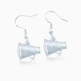 Silver Cheer Megaphone Earrings