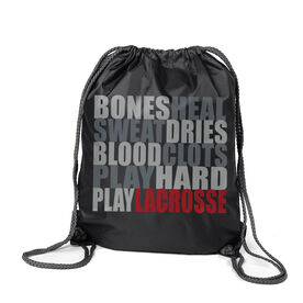 Guys Lacrosse Sport Pack Cinch Sack Bones Saying