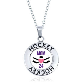 Hockey Circle Necklace - Crossed Sticks Heart With Mom And Number