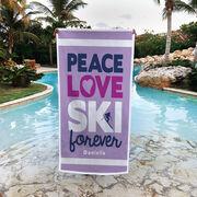 Skiing Premium Beach Towel - Peace Love Ski Forever