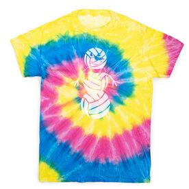 Volleyball Short Sleeve T-Shirt - Volleyball Snowman Tie Dye