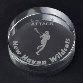 Girls Lacrosse Personalized Engraved Crystal Gift - Player Silhouette with Custom Text (Player)