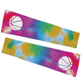 Basketball Printed Arm Sleeves - Tie Dye Pattern with Basketball