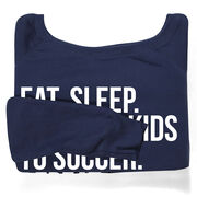 Soccer Fleece Wide Neck Sweatshirt - Eat Sleep Take The Kids To Soccer