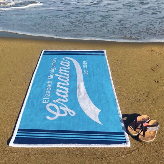 Personalized Premium Beach Towel - Rocking Being A Grandma