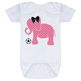 Soccer Baby One-Piece - Soccer Elephant with Bow