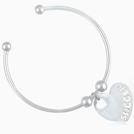 Silver Soccer Heart On Silver Plated Cuff Bracelet