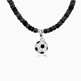 Natural SportBEAD Adjustable Necklace - Enamel Soccer Ball Charm
