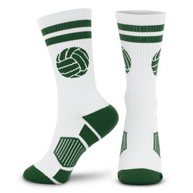 Volleyball Woven Mid-Calf Socks - Ball (White/Green)