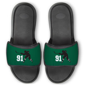 Hockey Repwell® Slide Sandals - Hockey Slapshot with Number