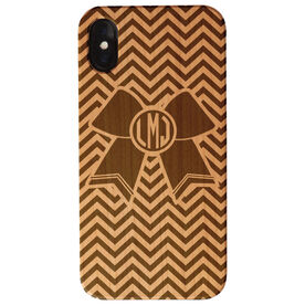 Cheerleading Engraved Wood IPhone® Case - Cheerleading Monogrammed Bow