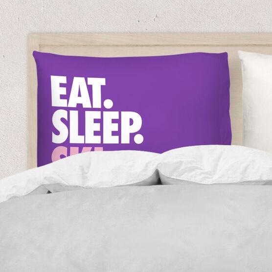 Skiing Pillowcase - Eat Sleep Ski