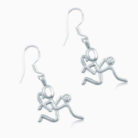 Silver Basketball Girl (Stick Figure) Earrings