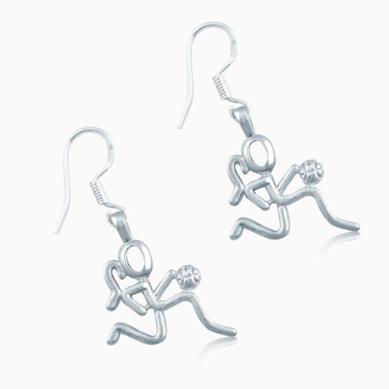 Silver Basketball Girl (Stick Figure) Earrings