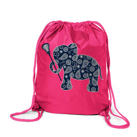 Girls Lacrosse Sport Pack Cinch Sack Lax Elephant
