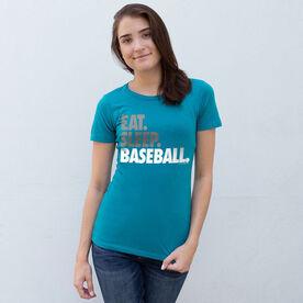Baseball Women's Everyday Tee - Eat Sleep Baseball Bold Text