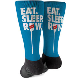 Crew Printed Mid-Calf Socks - Eat Sleep Row