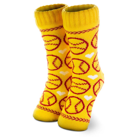 2446a36dc0a Images. Softball Slipper Socks with Sherpa Lining Click to Enlarge