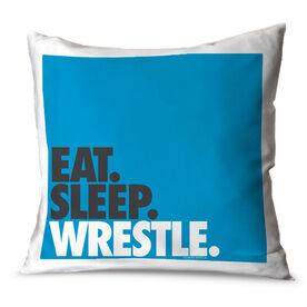 Wrestling Throw Pillow Eat Sleep Wrestle Stack