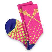 Girls Lacrosse Woven Mid-Calf Socks - Malibu (Pink/Yellow/Blue)