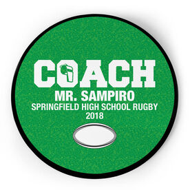 Rugby Circle Plaque - Coach With 3 Lines