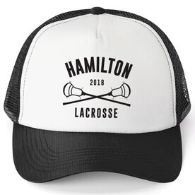 Guys Lacrosse Trucker Hat - Team Name With Curved Text