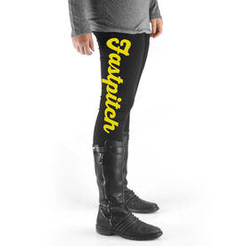 Softball High Print Leggings Fastpitch Script
