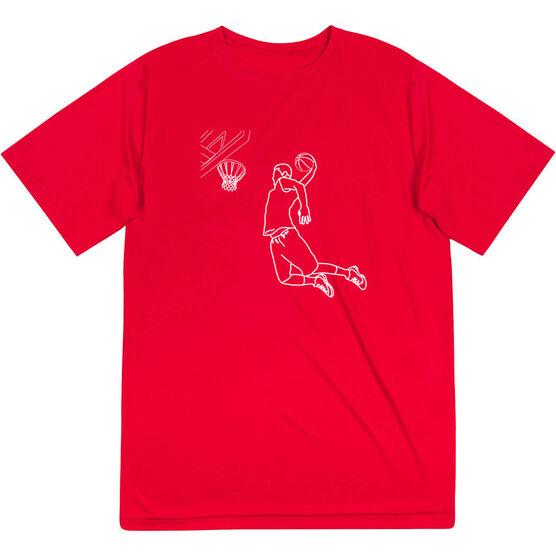 Basketball Short Sleeve Performance Tee - Basketball Player Sketch
